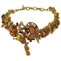 Christian Lacroix Vintage Opulent Jewelled Openwork Choker Necklace