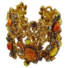 Christian Lacroix Vintage Opulent Jewelled Openwork Cuff Bracelet