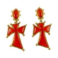 Christian Lacroix Vintage Orange Resin Cross Dangling Earrings