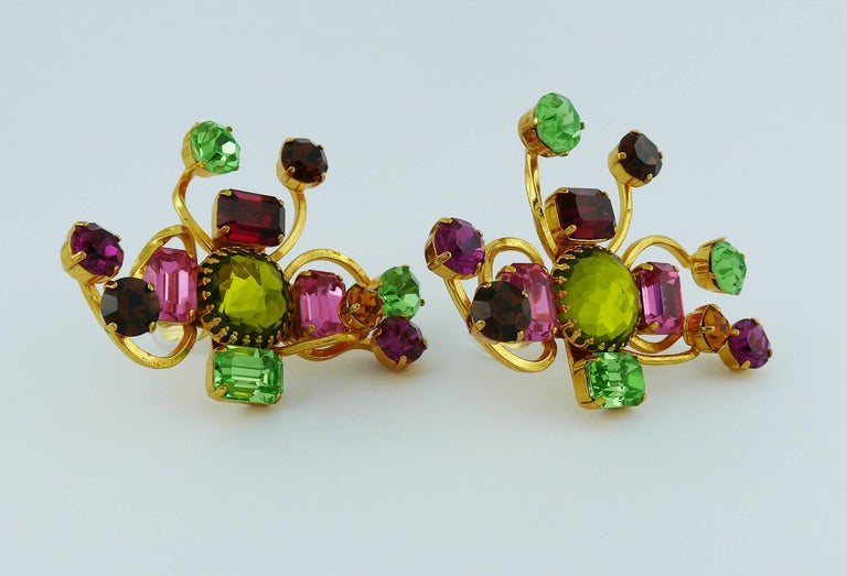 Women's Christian Lacroix Vintage Oversized Jewelled Clip-On Earrings For Sale