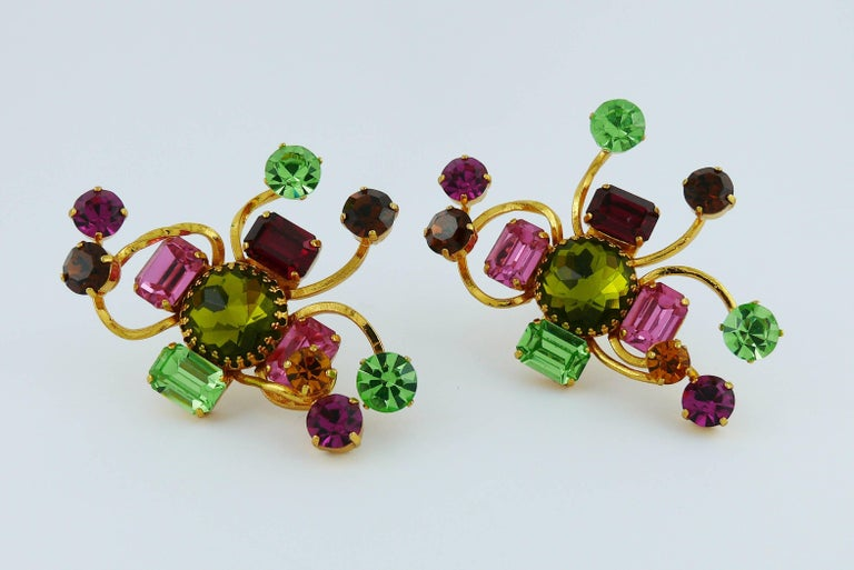 Christian Lacroix Vintage Oversized Jewelled Clip-On Earrings For Sale 1