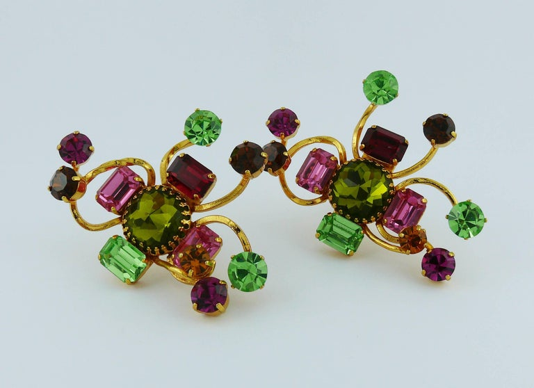 Christian Lacroix Vintage Oversized Jewelled Clip-On Earrings For Sale 2
