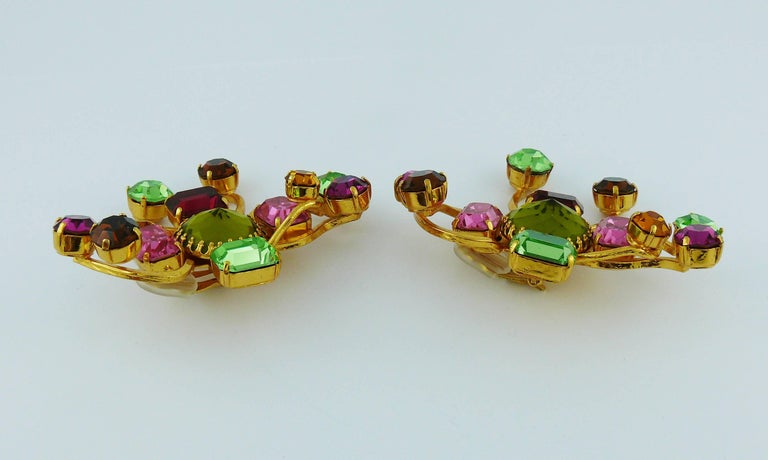 Christian Lacroix Vintage Oversized Jewelled Clip-On Earrings For Sale 3