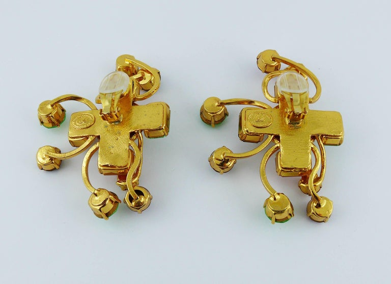 Christian Lacroix Vintage Oversized Jewelled Clip-On Earrings For Sale 4