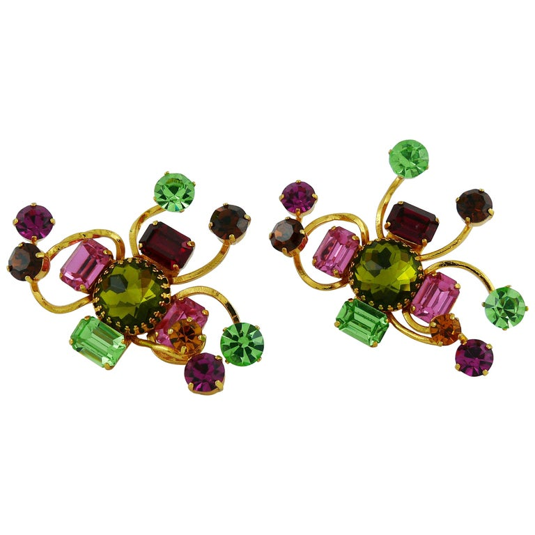 Christian Lacroix Vintage Oversized Jewelled Clip-On Earrings For Sale