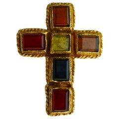 Christian Lacroix Vintage Pate de Verre Cross Brooch