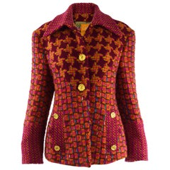 Christian Lacroix Vintage Pink Bouclé Wool & Mohair Rainbow Tweed Jacket, 1980s
