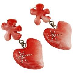 Christian Lacroix Vintage Pink Dangling Earrings
