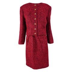 Christian Lacroix Vintage Red Mohair Wool Boucle Tweed Skirt Suit