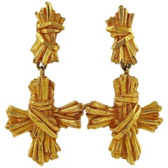 Christian Lacroix Vintage Ribbed Textured Bundle Cross Dangling Earrings