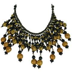 Christian Lacroix Vintage Runway Black Glass Beads Gold Toned Balls Bib Necklace