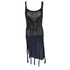 Christian Lacroix Vintage Semi-Sheer Crochet Mesh Knit Fringed Black Dress