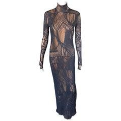Christian Lacroix Vintage Semi-Sheer Mesh Open Knit Fishnet Black Maxi Dress