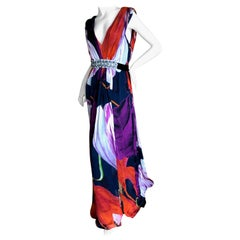 Christian Lacroix Vintage Silk Chiffon Floral Dress with Crystal Accented Belt