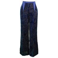 Christian Lacroix Vintage Silk Devore Wide Leg Pants