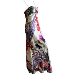 Christian Lacroix Vintage Silk Embellished Mythical Bird Pattern Evening Dress