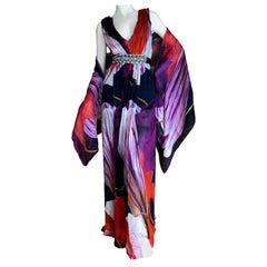 Christian Lacroix Vintage Silk Tulip Print Dress w Crystal Accented Belt & Shawl