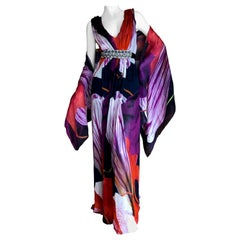 Christian Lacroix Vintage Silk Tulip Print Dress w Crystal Accented Belt & Shawl