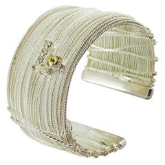 Christian Lacroix Vintage Silver Tone Jewelled Wired Cuff Bracelet