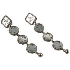 Christian Lacroix Vintage Silver Toned Baroque Venitian Mirror Dangling Earrings