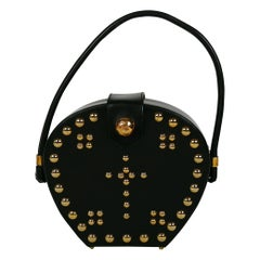 Christian Lacroix Vintage Studded Black Leather Gothic Inspired Bag