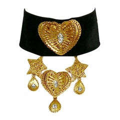 Christian Lacroix Vintage Velvet Choker Necklace with Hearts, Stars and Charms
