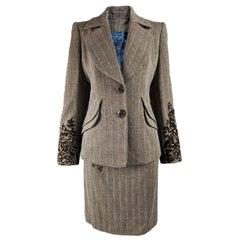 Christian Lacroix Vintage Velvet & Tweed Skirt Suit