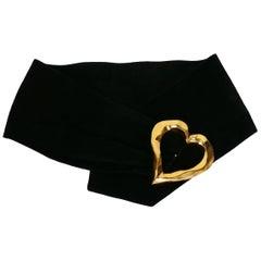 Christian Lacroix Vintage Wide Black Suede Belt with Oversized Gilt Heart Buckle