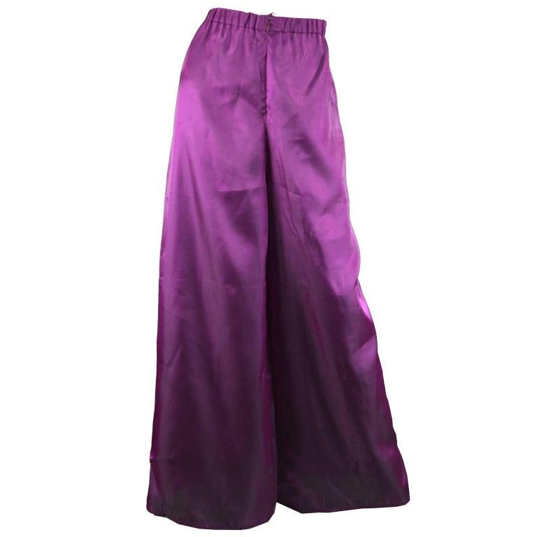 Christian Lacroix Vintage Wide Leg Iridescent Purple Palazzo Pants, 1990s