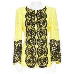 CHRISTIAN LACROIX yellow cotton floral jacquard black lace padded jacket FR40