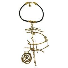 Christian LacroixAsymetric Gold Toned Brutalist Plastron Necklace
