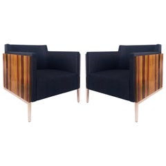 Christian Liagre Exotic Wood Shelter Armchairs, Art Deco Style Pair