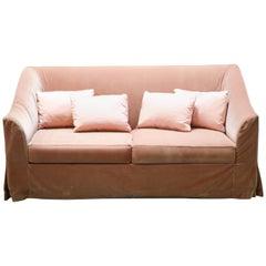 Christian Liaigre Modern Sofa in Pink Velvet