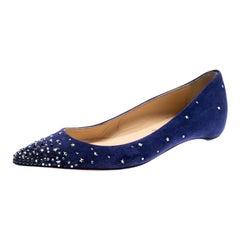 Christian Loboutin Blue Suede Crystal Star Gravitanita Ballet Flats Size 37.5