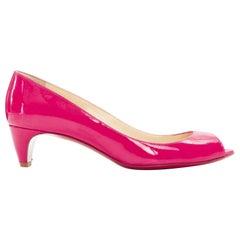 CHRISTIAN LOUBOUTIN 45mm fuschia pink patent peep toe curved kitten heel EU36