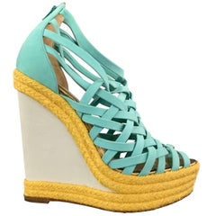 CHRISTIAN LOUBOUTIN 7 Turquoise Suede Woven Yellow Braided Platform Wedge Sandal