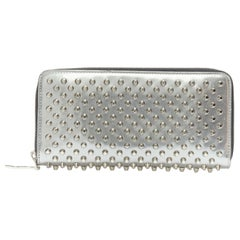 CHRISTIAN LOUBOUTIN Aionoeud metallic silver studded zipper elongated wallet bag
