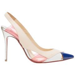 CHRISTIAN LOUBOUTIN Air Chance 100 pink PVC tricolor slingback heel pump EU36