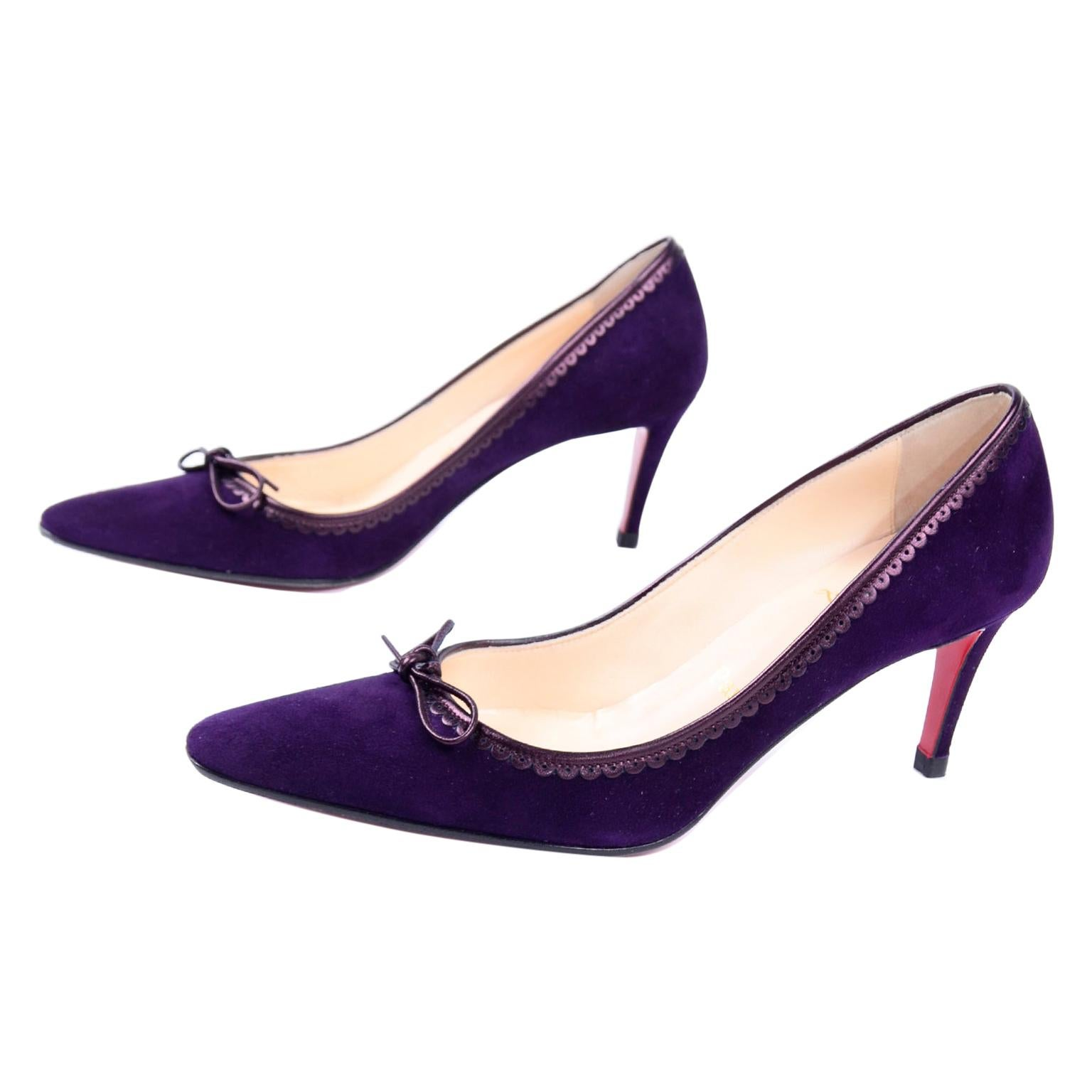 "Christian Louboutin Alice Shoes Purple Suede Bow Pumps With 3"" Heels Size 37"
