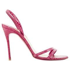 CHRISTIAN LOUBOUTIN Anna 100 genuine croc leather minimal slingback sandals EU37