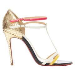 CHRISTIAN LOUBOUTIN Arnold 100 pink white t-strap scaled heel sandals EU37.5