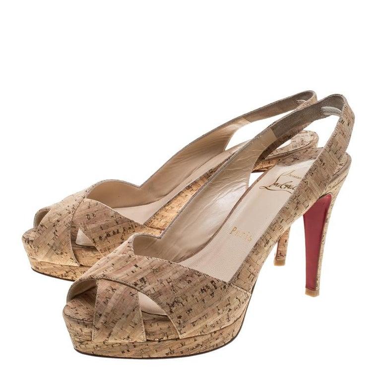 Women's Christian Louboutin Beige Cork Soso Slingback Sandals Size 37 For Sale