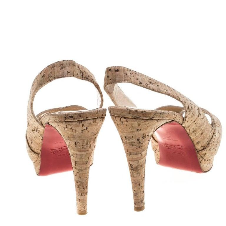 Christian Louboutin Beige Cork Soso Slingback Sandals Size 37 For Sale 1