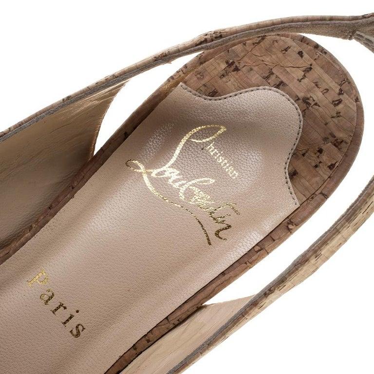 Christian Louboutin Beige Cork Soso Slingback Sandals Size 37 For Sale 3