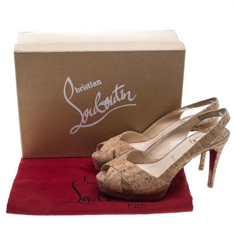 Christian Louboutin Beige Cork Soso Slingback Sandals Size 37 For Sale 4