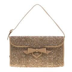 Christian Louboutin Beige Evita Pampas Clutch Bag
