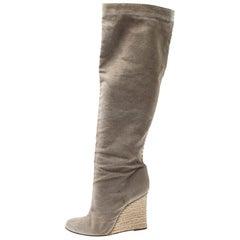 Christian Louboutin Beige Jessica Canvas Espadrille Boots Size 39