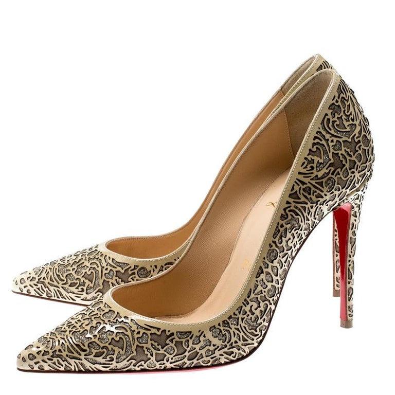 Christian Louboutin Beige Laser Cut Patent Leather And Glitter Pumps Size 36 For Sale 1