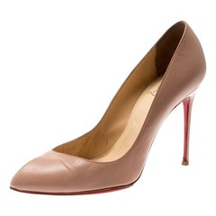 Christian Louboutin Beige Leather Corneille Pointed Toe Pumps Size 38