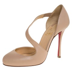 Christian Louboutin Beige Leather Decalcoco Cross Strap Pumps 36